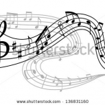Stock Vector Art Background With Waves Of Musical Notes Jpeg