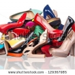 Stock Photo Pile Of Various Female Shoes Over White 12936798